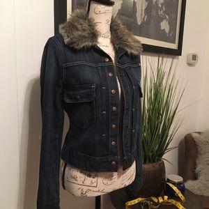 ❄️ Lucky Brand ~ Tiffany Denim Jacket w/ Fur